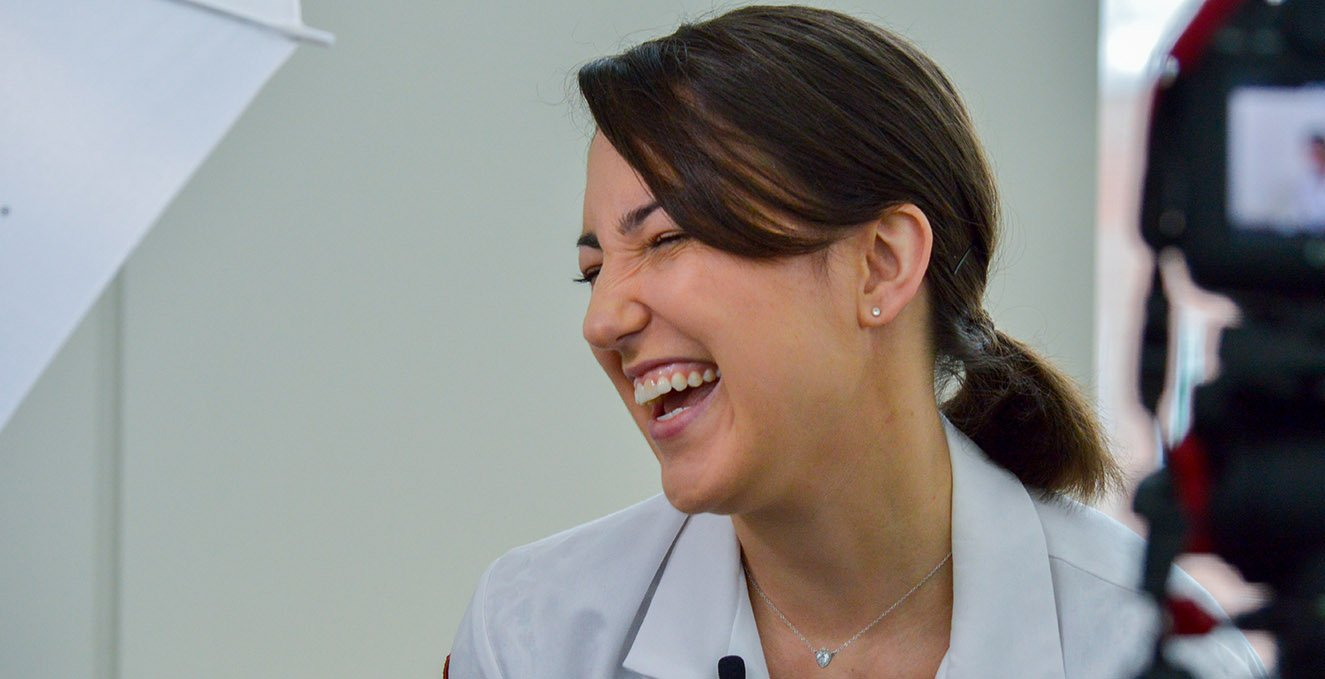 Fourth-year RowanSOM medical student, Julianne Barrett, caught laughing in a behind-the-scene moment.