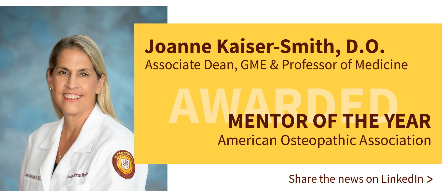 Joanne Kaiser-Smith is awarded AOA Mentor of the Year